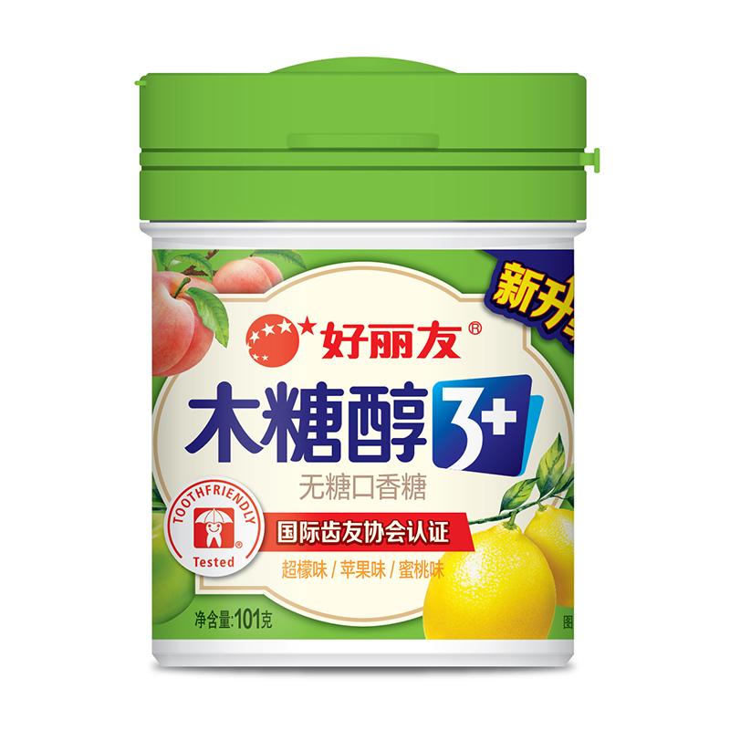 好麗友 木糖醇3+無糖口香糖(超檬味/蘋果味/蜜桃味)101g/瓶