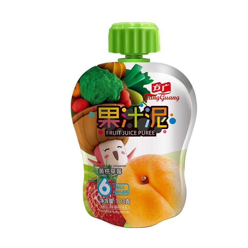 方廣 果泥 嬰兒輔食 黃桃草莓果汁泥103g/袋裝