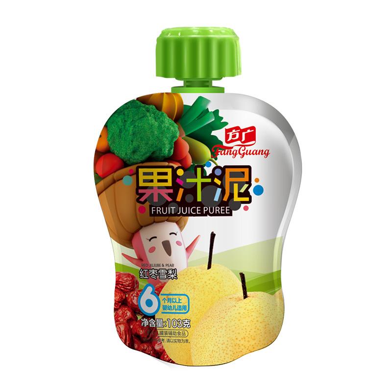 方廣 果泥 嬰兒輔食 紅棗雪梨果汁泥103g/袋裝