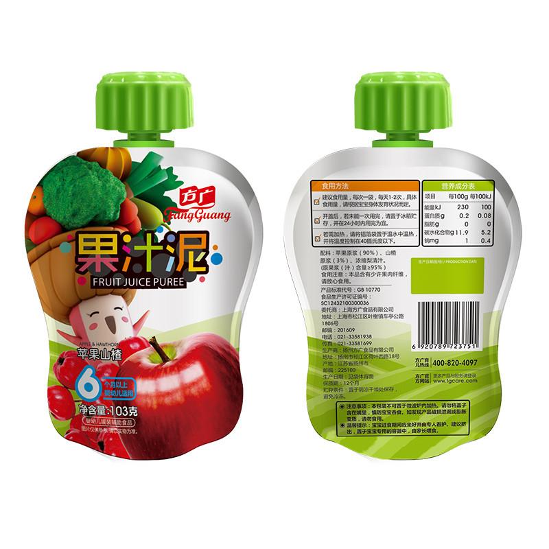 方广 果泥 婴儿辅食 苹果山楂果汁泥 103g/袋装