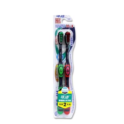 可洁异型孔物理磨尖刷毛双支装牙刷