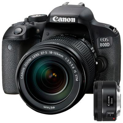 佳能(Canon) EOS 800D(18-135mm+50mm F1.8) 双镜头单反套装 内置WIFI 快速分享