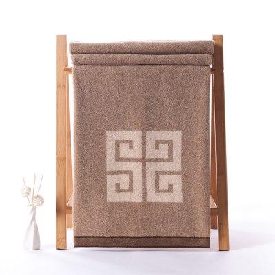 金號 純棉大浴巾 花式線提緞 全棉加大加厚成人浴巾 150*73cm 棕色